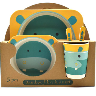 Eco Friendly Bamboo Fibre Kids Feeding Set of 5 pieces - Hippo Print/Yellow