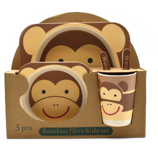 Eco Friendly Bamboo Fibre Kids Feeding Set of 5 pieces - Monkey Print
