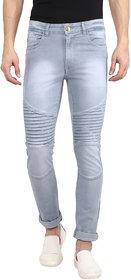 Urbano Fashion Men's Light Grey Biker Pattern Slim Fit Jeans Stretchable
