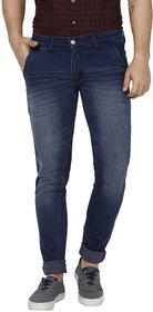 Urbano Fashion Men's Dark Blue Slim Fit Washed Jeans Stretchable