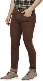 Urbano Fashion Men's Brown Slim Fit Denim Jeans Stretchable