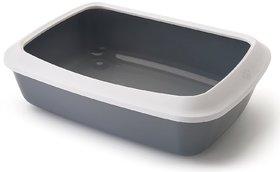 Savic Iriz Cat Litter Tray with Rim Retro Cold, Gray (17-inch)