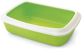 Savic Cat Litter Tray Oval and Rim Large, White/Lemon Green