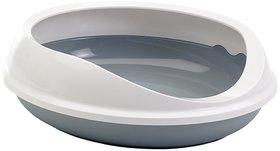 Savic Figaro Oval Cat Litter Tray with Rim in Grey