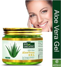 Indus Valley Bio Organic Pure Aloe Vera Gel For Pimples Acne Skin Cleanser 400 mL