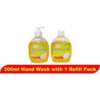 Liquid Hand Wash 300ml Lemon (Pack of 2) (With 1 Refill pack)