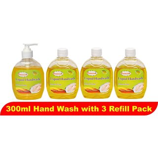 Liquid Hand Wash 300ml Lemon (Pack of 4) (With 3 Refill pack)