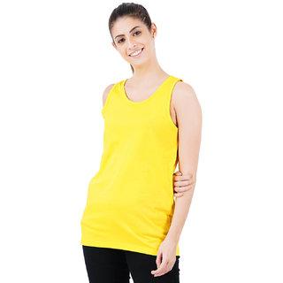 Stoovs, Cotton Women's T-Shirts, Pineapple Yellow Solid Women's Tank Top