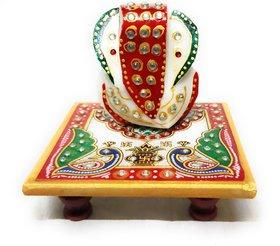 Marble Enamel Painted Ganesha Placed on Chowki (10.2 cm x 10.2 cm x 10.2 cm)
