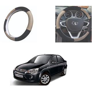 feelitson Car steering Wheel Cover Beige Black Size-Medium for Fiesta Classic