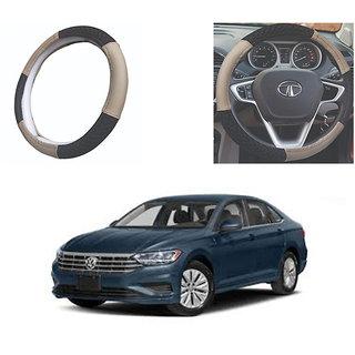 feelitson Car steering Wheel Cover Beige Black Size-Medium for Jetta