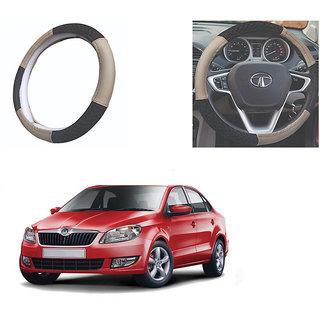 feelitson Car steering Wheel Cover Beige Black Size-Medium for Rapid 2012