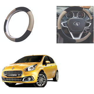 feelitson Car steering Wheel Cover Beige Black Size-Small for Punto Evo