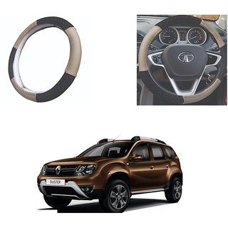 feelitson Car steering Wheel Cover Beige Black Size-Small for Duster 2016
