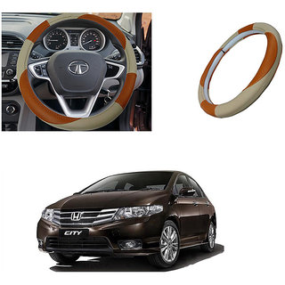 feelitson Car steering Wheel Cover Beige Brown Size-Small for Ivtec