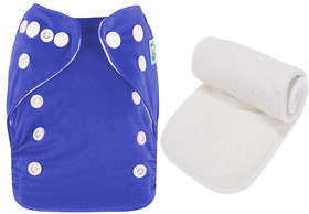 Mopslik  - Baby Washable , Adjustable  , Reusable Cloth Diaper With Microfiber Insert - Dark Blue