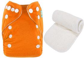 Mopslik  - Baby Washable , Adjustable  , Reusable Cloth Diaper With Microfiber Insert - Orange