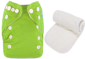 Mopslik  - Baby Washable , Adjustable  , Reusable Cloth Diaper With Microfiber Insert - Olive