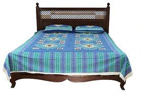 JABAMA 150 TC Cotton Double Abstract Bedsheet (Pack of 1, Blue)