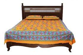 JABAMA 150 TC Cotton Double Floral Bedsheet (Pack of 1, Yellow)