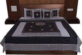 JABAMA Silk Double Bed Cover (Silver, Black)