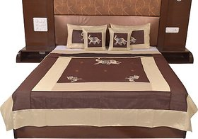 JABAMA Silk Double Bed Cover (Brown, Beige)