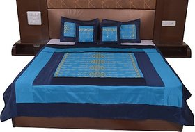 JABAMA Silk Double Bed Cover (Blue)