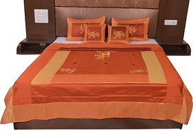 JABAMA Silk Double Bed Cover (Gold, Brown)