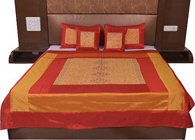 JABAMA Silk Double Bed Cover (Gold, Maroon)