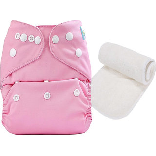 Mopslik  - Baby Washable , Adjustable  , Reusable Cloth Diaper With Microfiber Insert - Pink