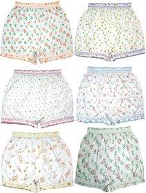 KIDBIRD Girls Boys and Girls White Cotton  Inner Underwear Panty Bloomers Combo Pack of 6