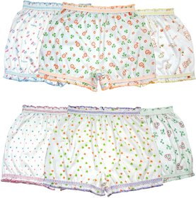 BEXZZOR Girls Boys and Girls White Cotton  Inner Underwear Panty Bloomers Combo Pack of 6