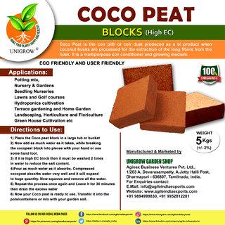 Cocopeat Block Growing Medium 5kg (plus or minus 2) - Coconut Fiber for Seed Starting, Indoor Hydroponics (High EC)