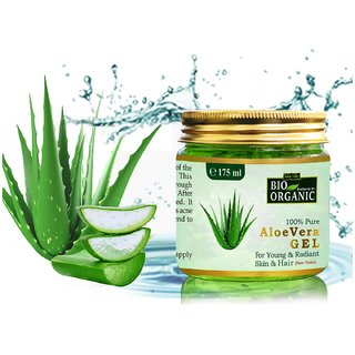 Indus Valley Bio Organic 100 Pure Aloe Vera Gel For Anti Aging  Acne  Pimples Prone Treatments(175 ml )
