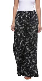 Jabama Black Regular Fit Printed Palazzos For Women