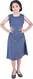 JABAMA Girls Midi/Knee Length Casual Dress (Blue, Sleeveless)