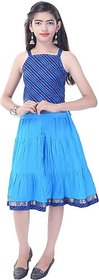Soundarya Girls Top and Skirt Set (Blue Pack of 1)