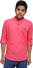 JABAMA Boys Solid Straight Kurta (Pink)