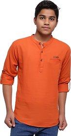 JABAMA Boys Solid Straight Kurta (Orange)