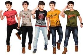 Kavin's Cotton Trendy T-Shirt for boys, Pack of 5, Multicolored, Combo Pack - Thunder