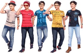 Kavin's Cotton Trendy T-Shirt for boys, Pack of 5, Multicolored, Combo Pack - Rig