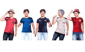 Kavin's Cotton Trendy T-Shirt for boys, Pack of 5, Multicolored, Combo Pack - Ruby