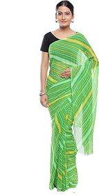 Jabama Green Georgette Printed Saree With Blouse
