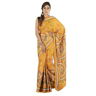 Yellow Tassar Silk Kantha Embroidery Saree