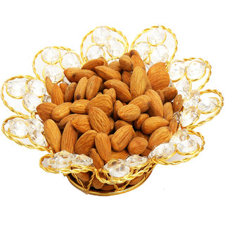 Ghasitaram Gifts   Dryfruits - Gold Crystal  Almonds Bowl