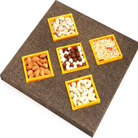 Ghasitaram Gifts  Dryfruits Hampers- Jute 5 part Part Assorted  Dryfruits, Nutties and Namkeen Tray
