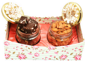 Ghasitaram Gifts  Almonds and Chewy Choco Fudge Jars  in Tray