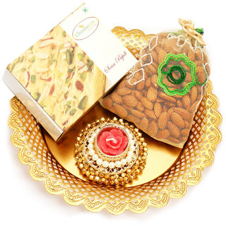 Ghasitaram Gifts Golden Almond Pouch and Soan papdi Thali with Gungroo T- Lite