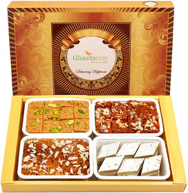 Ghasitaram Gifts Big Box of Kaju Katli, Besan Barfi, Dodha Barfi and Milk Cake