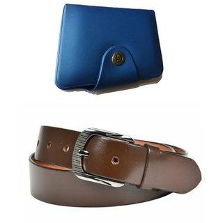 pack of 2   blue card holder ( 15 slot ) &  belt for men 113 (Synthetic leather/Rexine)